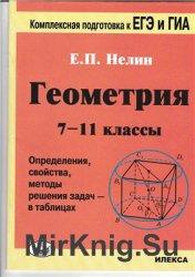 Геометрия. 7-11 классы. Определения, свойства, методы решения задач - в таб ...