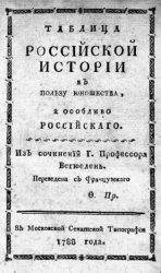 Таблица российской истории в пользу юношества, а особливо российского
